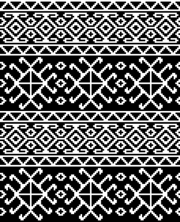 Seamless ethnic Georgian black and white pattern for background, textile. Фото со стока - 99478341