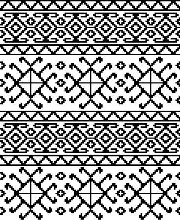 Seamless ethnic Georgian black and white pattern for background, textile. Фото со стока - 99478343