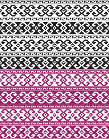 Seamless ethnic Georgian black and ruby ??red patterns for background, textile. Иллюстрация
