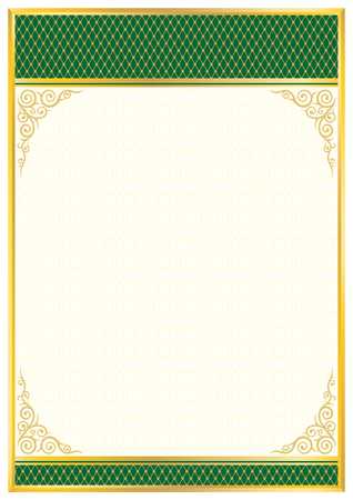 Decorative rectangular framework with tangier grid. Template for diploma, certificate.