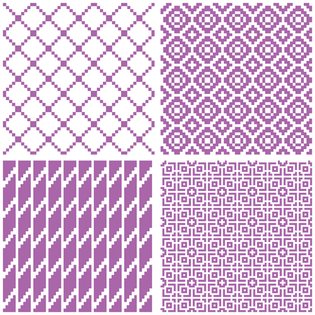 Set of 4 seamless geometric patterns, violet color. Swatches are included.