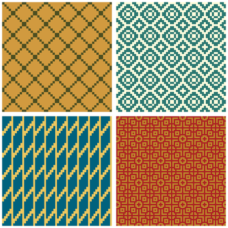Seamless geometric patterns, saturated colors. Swatches are included. Appropriate for textile, packing materials. Ilustração