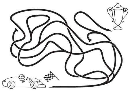 Maze game for kids. Coloring page. Ride the race car to the prize.