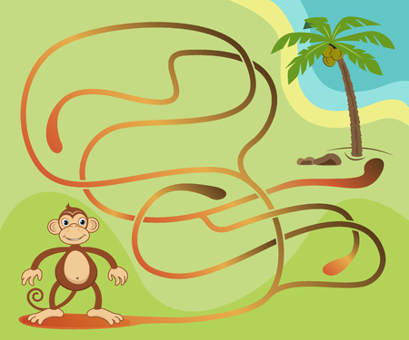 Maze game for kids. Help the monkey to get to the coconut palm tree.