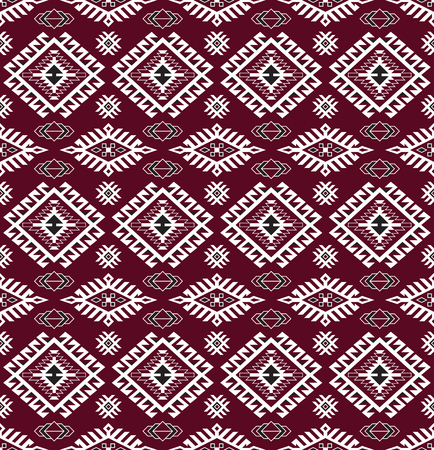 Seamless American Indians tribal pattern. Navajo ethnic style. Ruby red, white, black colors.