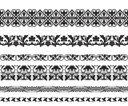 Set of black seamless floral ornaments. Byzantine, Arabic, Muslin, East style. Pattern brushes are included.