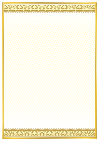 Golden decorative rectangular framework. Classic floral ornament. Template for diploma, certificate, card. A4, A3 page proportions. Gradients applied.