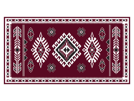 Geometric pattern. American Indians tribal blanket pattern. Navajo ethnic style. Ruby red, white, black colors. Illustration