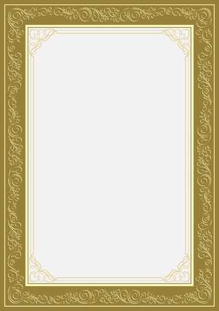 Rectangular ornate framework. For cards, advertisements, certificates, diplomas, page decoration. A4, A3 page proportions. Ilustracja