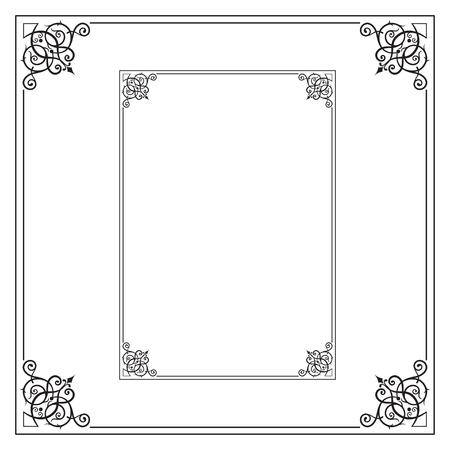 Decorative black rectangular and square frames for label, certificate, card. Ilustracja