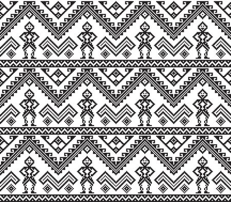 Patrones étnicos negros geométricos sin fisuras. Estilo filipino.