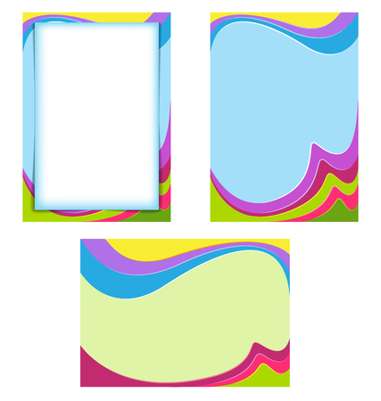 Colorful wavy backdrops for label, certificate, card, slide-show. A4 page proportions. Vettoriali