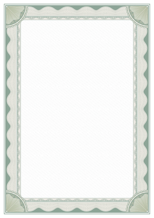 Decorative rectangular framework with guilloches, rosettes and tangier grid. Template for diploma, certificate. A4, A3 page proportions. Иллюстрация