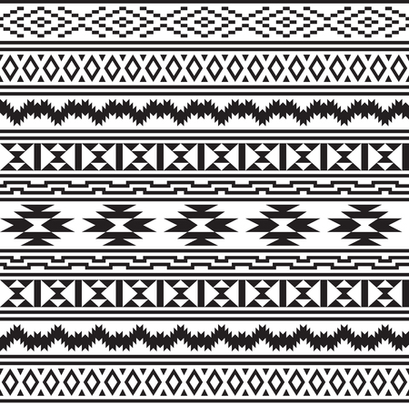 Seamless American Indians tribal pattern. Navajo ethnic style. Black and white colors.