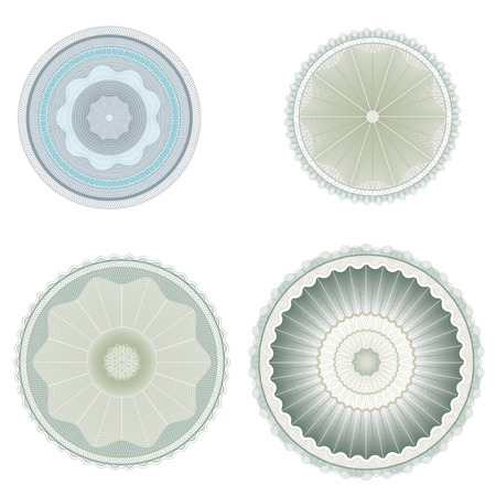 Guilloche rosettes, repetitive pattern for awards and securities.