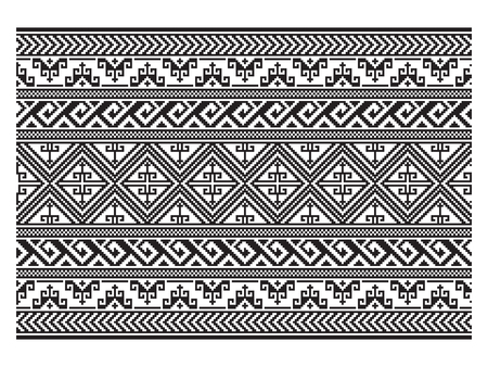 Seamless black geometric pattern, belt. American Indians ethnic style. Embroidery imitation.