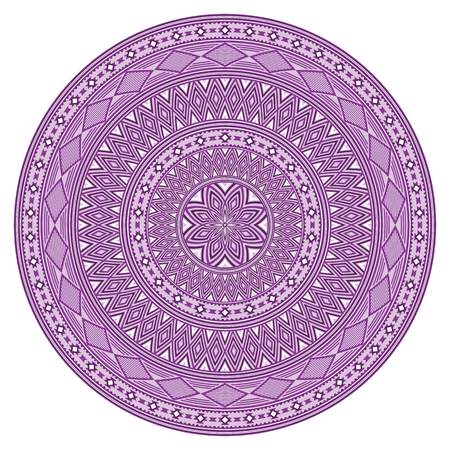 Round geometric pattern, American Indians ethnic style. Violet colors. Pattern brushes are included.
