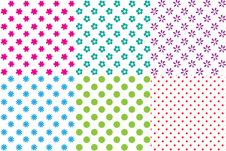 Set of 6 simple seamless patterns, different colors. Polka dots, petals. Swatches are included. Appropriate for textile, packing materials, website backgrounds, wallpaper, kids stuff. Çizim