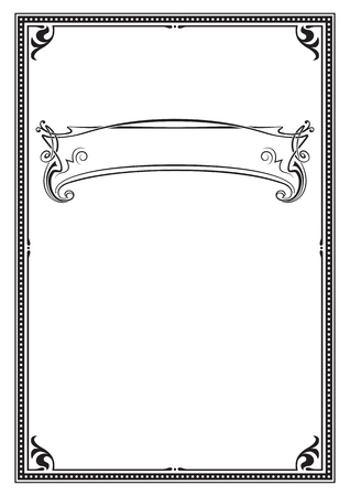 Black ornate frame. A4, A3 page size. Banner for headline.