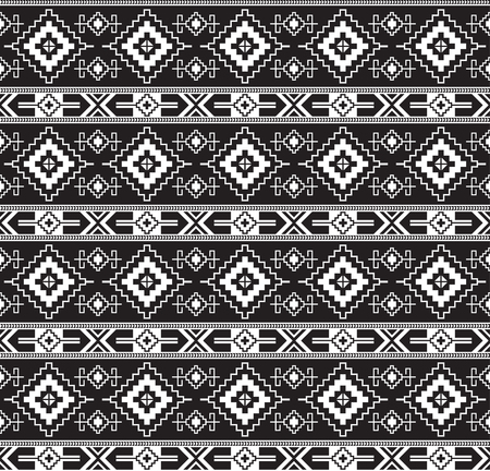 Seamless black geometric pattern. Ancient Central Asian style, kilim. Transparent background.
