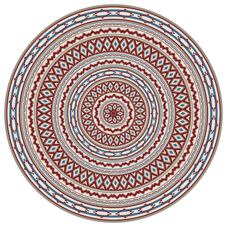 Round geometric pattern, American Indians ethnic style. Various colors. Pattern brushes are included.