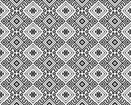 Seamless black geometric pattern. Thai, South East Asian ethnic style. Embroidery style. 矢量图像