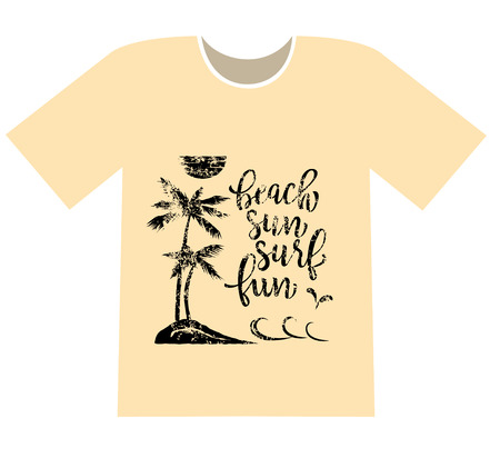 Printing on a T-shirt. Palms on the beach and lettering beach, sun, surf, fun. Grunge effect applied.