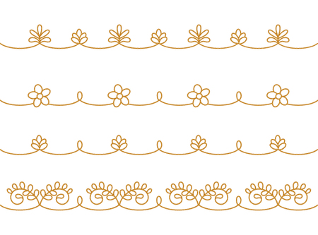 Embroidery borders imitation. Sought East Asian style. Pattern brushes included in vector file. Foto de archivo - 108335721