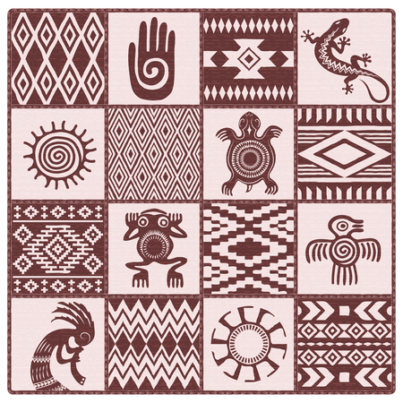 Illustration of Native Americans, ethnic patterns and symbols: hand, sun, lizard, frog, bird, turtle, kokopelli. Shades of brown, dark red.