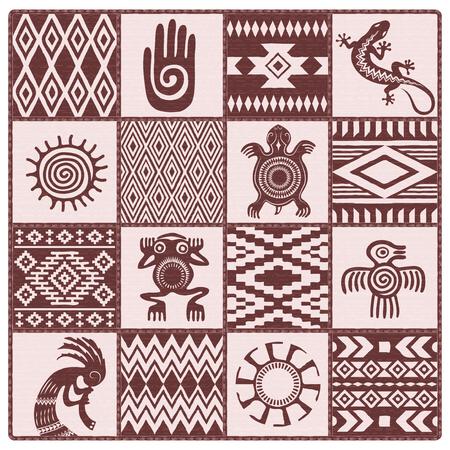 Illustrazione di nativi americani, motivi etnici e simboli: mano, sole, lucertola, rana, uccello, tartaruga, kokopelli. Sfumature di marrone, rosso scuro.