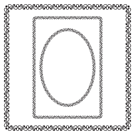 Round, rectangular and square black borders. Celtic style. Pattern brush is included. Çizim