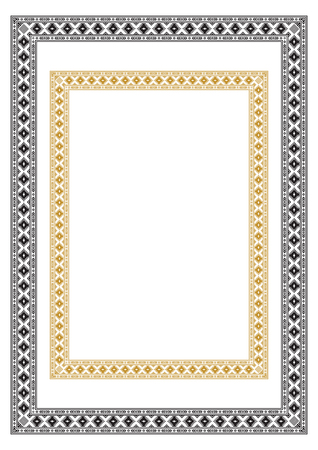 Rechthoekige etnische geometrische frames. Zwart en wit, gele kleuren. Op A3, A4-pagina's.