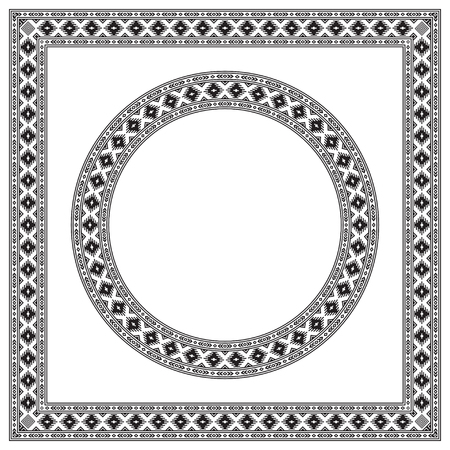 Round and square ethnic geometric frames. Black and white colors. Pattern brush is included. Stock Illustratie