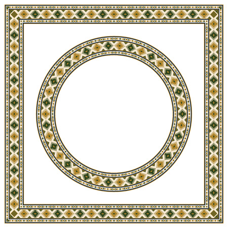 Round and square ethnic geometric frames. Pattern brush is included.