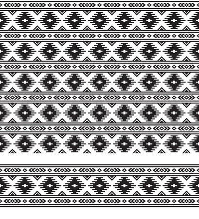 Seamless Black and white geometric ethnic pattern and border. Pattern brush and swatch are included.