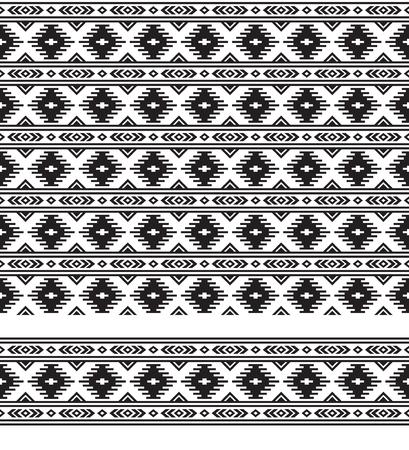 Naadloze zwart-wit geometrische etnische patroon en rand. Patroonborstel en staal zijn inbegrepen.