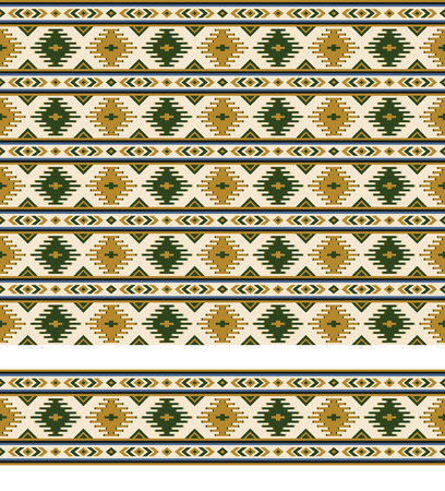 Seamless geometric ethnic pattern and border. Pattern brush is included. Stock Illustratie