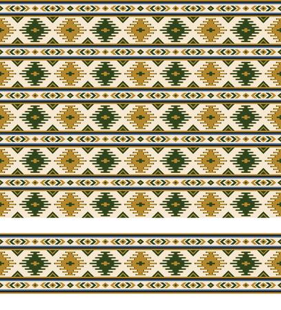 Naadloze geometrische etnische patroon en rand. Patroonborstel is inbegrepen.