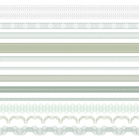 Seamless decorative borders for guilloches. Pattern brushes included in file. Иллюстрация