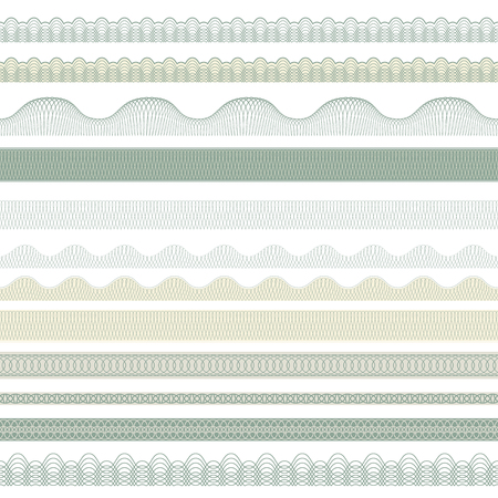 Seamless decorative borders for guilloches. Pattern brushes included in file. Ilustrace