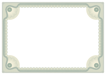 Decorative framework for awards, certificates and securities. A4 page. Guilloches, rosettes. Corner element.