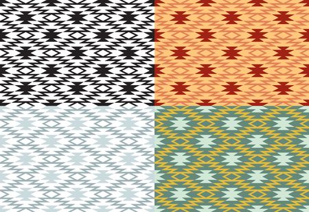 Set of seamless geometric patterns. American Indians ethnic style.