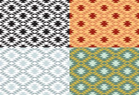 Set van naadloze geometrische patronen. Amerikaanse Indianen etnische stijl.