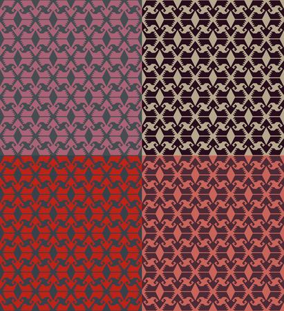 Set of seamless geometric patterns. Turkish ethnic style.