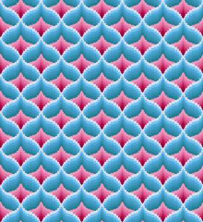 Seamless bargello pattern. Imitation of needlepoint embroidery. Diamond motifs. Swath is included. Illustration