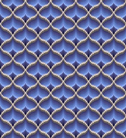 Seamless bargello pattern. Imitation of needlepoint embroidery. Diamond motifs. Swath is included. Ilustração