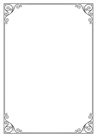 Decorative black rectangular frame for label, certificate, card. A3, A4 page proportions.
