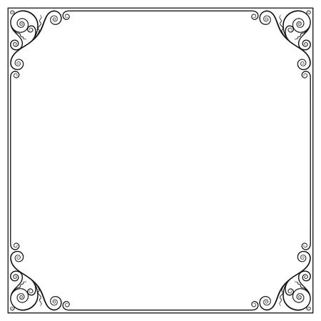 Decorative black square frame for label, certificate, card. Ilustracja