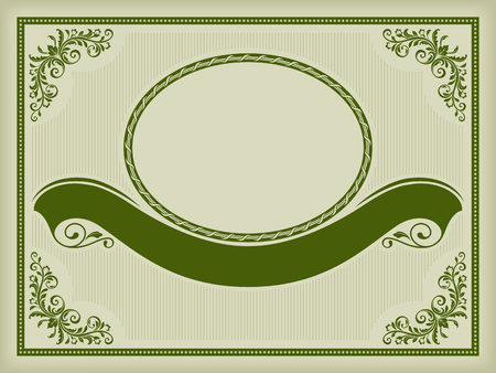 Ornate label with a banner, decorative corners and frames. Dark green on pale background. Swatch and pattern brushes are included. Çizim