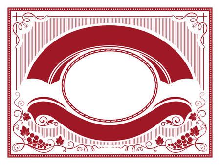 Ornate label with bunches of grape, banners, decorative corners and frames. Dark red and white colors.